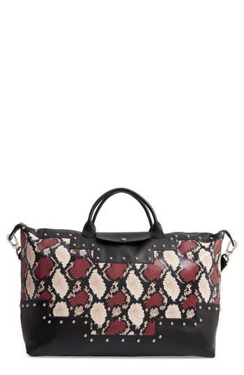 Longchamp Le Pliage Python Embossed Leather Satchel