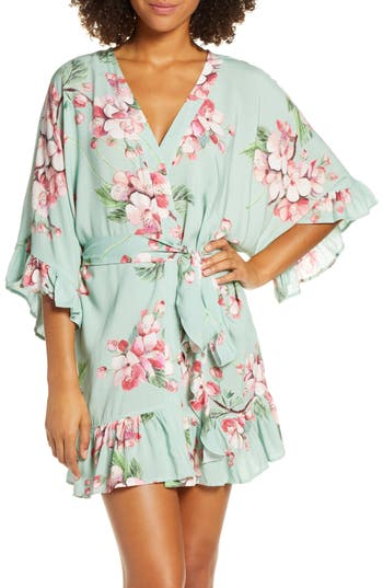 Plum Pretty Sugar Tie Waist Flutter Robe