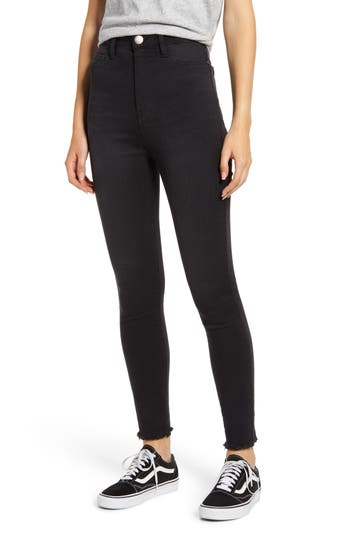 Tinsel High Waist Fray Hem Skinny Jeans