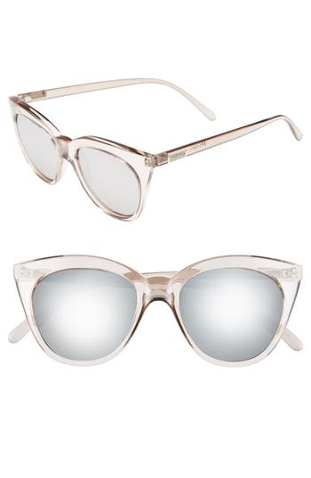 Le Specs Halfmoon Magic 51Mm Cat Eye Sunglasses - Stone/ Silver Mirror