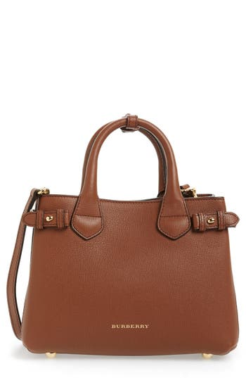 Burberry 'Small Banner' Leather Tote - Beige