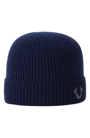 True Religion Brand Jeans Rib Knit Cap - Blue