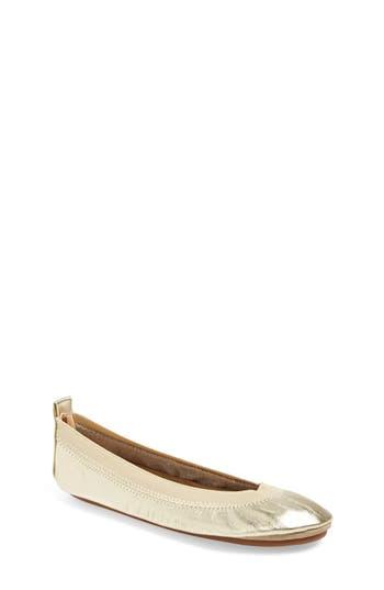 Girl's Yosi Samra Metallic Foldable Ballet Flat