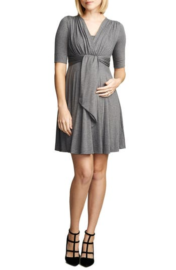 Maternal America Front Tie Nursing Dress, Grey