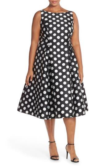 Plus Size Adrianna Papell Sleeveless Mikado Fit & Flare Polka Dot Midi Dress