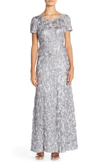 Petite Alex Evenings Embellished Lace Gown, Ivory