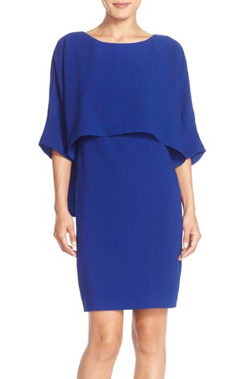 Adrianna Papell Draped Blouson Sheath Dress, Purple