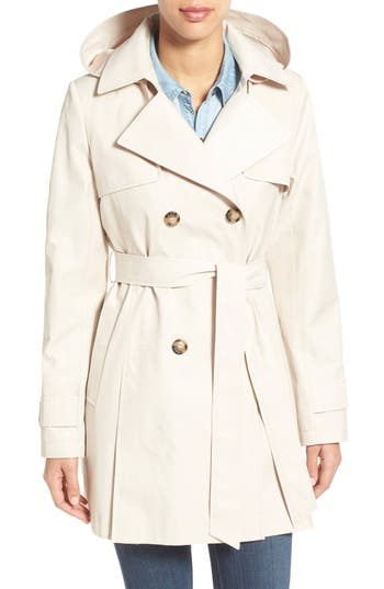 Petite Women's Halogen Detachable Hood Trench Coat