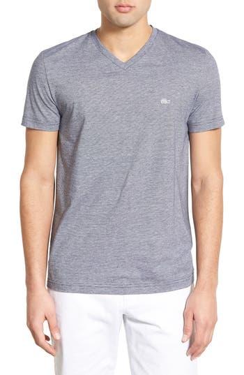Lacoste Stripe V-Neck T-Shirt, Blue