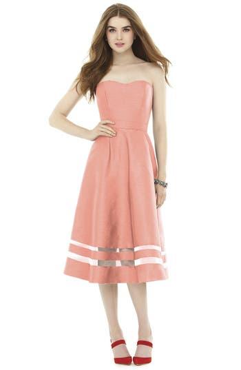 Alfred Sung Illusion Stripe Strapless A-Line Midi Dress, Orange