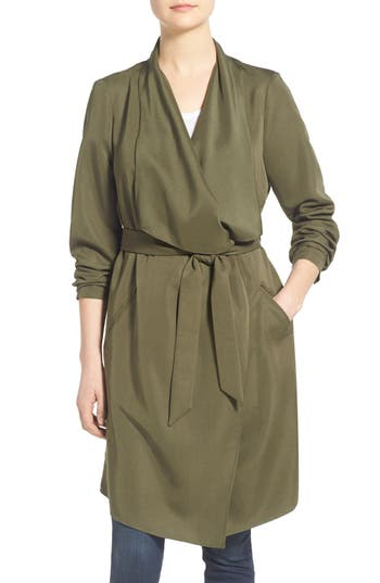 Women's Kensie Belted Drape Front Trench Coat