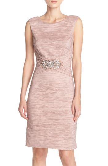 Eliza J Embellished Taffeta Sheath Dress, Pink