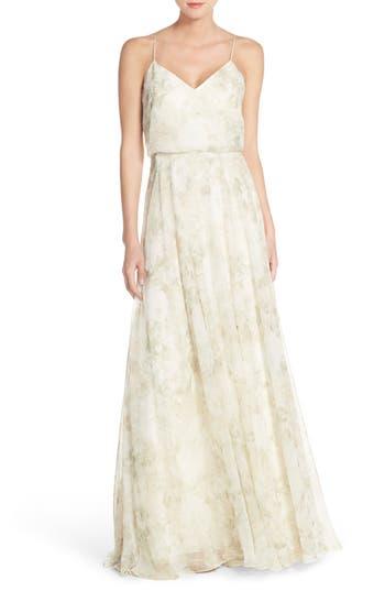 Jenny Yoo Inesse V-Neck Chiffon Gown, Grey