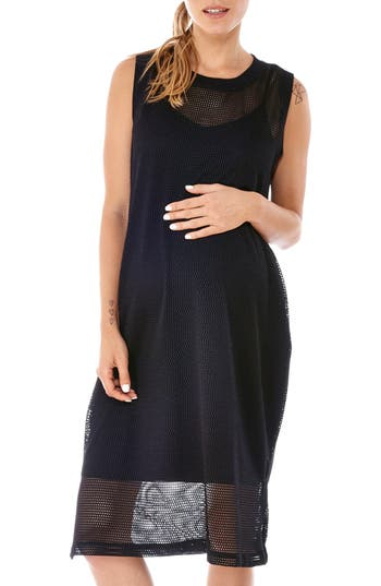 Women's Imanimo Sporty Mesh Maternity Dress, Size Small - Black