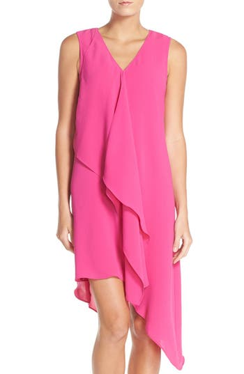 Petite Adrianna Papell Ruffle Front Crepe High/low Dress, Pink