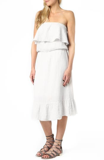 Michael Stars Ruffle Bodice Strapless Gauze Dress