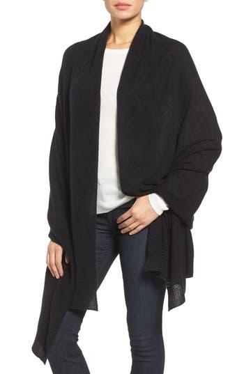 Women's Halogen Ottoman Rib Cashmere Wrap, Size One Size - Black