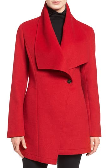 Women's Laundry By Shelli Segal Double Face Drape Collar Coat