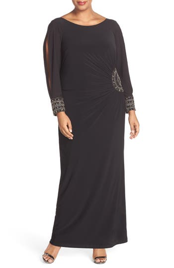 Plus Size Xscape Embellished Stretch Jersey Long Dress