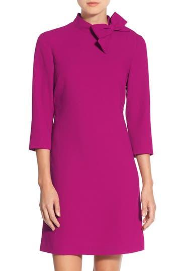 Eliza J Bow Crepe A-Line Dress, Pink