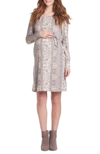 Lilac Clothing Print Maternity Shift Dress