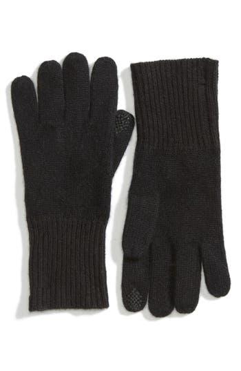 Women's Halogen Rib Knit Cashmere Gloves, Size One Size - Black