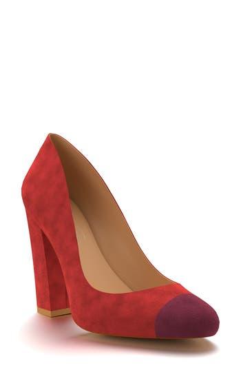 Shoes Of Prey Cap Toe Block Heel Pump - Red