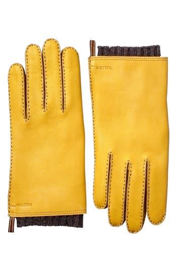 Men's Hestra 'Tony' Deerksin Leather Gloves, Size Medium - Yellow