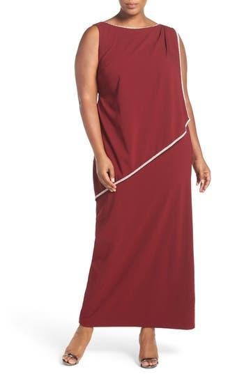 Plus Size Marina Embellished Overlay Sleeveless Crepe Column Gown