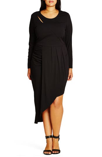 Plus Size Women's City Chic Wrapped Up Asymmetrical Jersey Dress