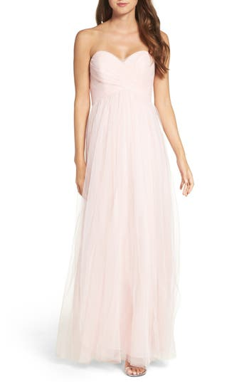 Wtoo Convertible Strap Tulle Gown, Pink