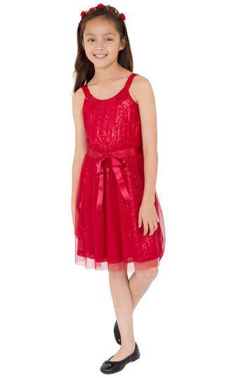 Girl's Blush By Us Angels Sequin Tulle Dress