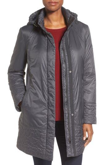 Women's Larry Levine Trapunto Trim A-Line Coat