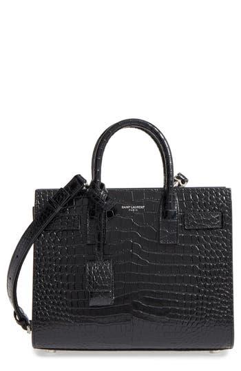 Saint Laurent Nano Sac De Jour Croc Embossed Leather Tote - Black