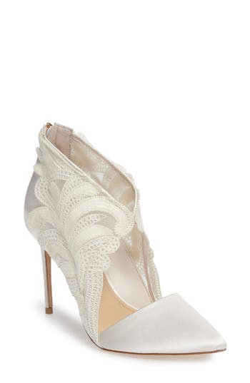 Imagine By Vince Camuto Obin Lace Detailed Pointy Toe Pump, Ivory