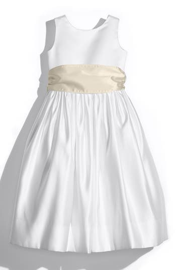 Girls Us Angels White Tank Dress With Satin Sash Size 8  Beige