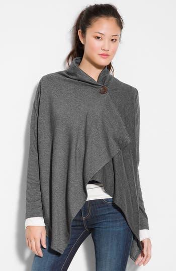 Women's Bobeau One-Button Fleece Wrap Cardigan, Size Large - Grey