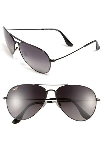 Maui Jim Mavericks 61Mm Polarizedplus2 Aviator Sunglasses - Glossy Black/ Neutral Grey