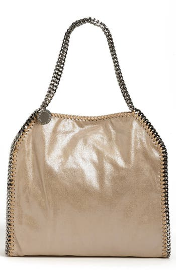 Stella Mccartney 'Small Falabella' Faux Leather Tote - Metallic