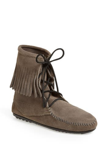 Women's Minnetonka 'Tramper' Fringed Suede Ankle Bootie at NORDSTROM.com