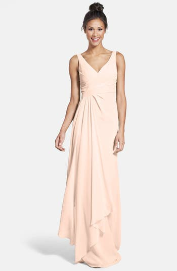 Monique Lhuillier Bridesmaids Sleeveless V-Neck Chiffon Gown