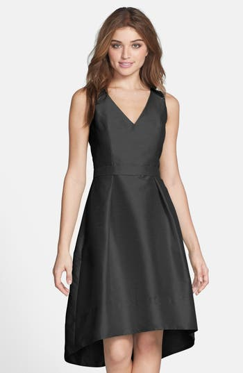 Alfred Sung Satin High/low Fit & Flare Dress, Black (Online Only)