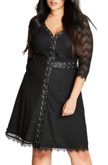 Plus Size City Chic Gigi Luxe Faux Leather Trim Lace Dress