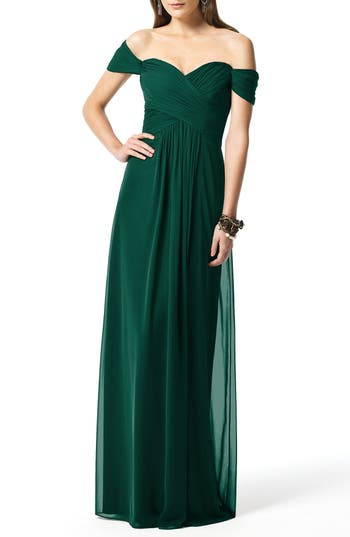 Dessy Collection Ruched Chiffon Gown, Green