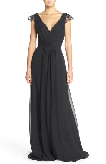 Hayley Paige Occasions Lace & Chiffon Cap Sleeve Gown, Black