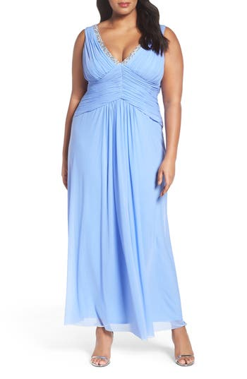 Plus Size Marina Beaded V-Neck Pleat Mesh Gown, Blue