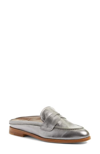 Agl Penny Loafer Mule, Metallic