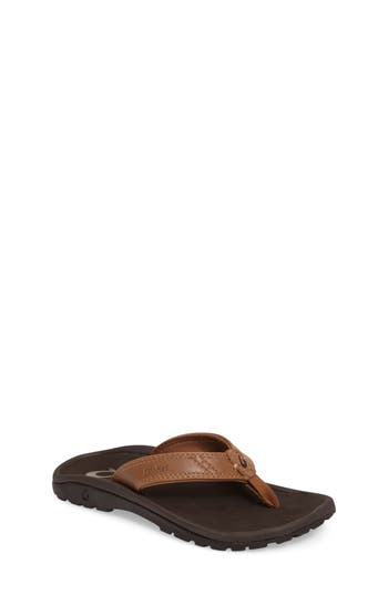 Boys Olukai Nui Leather Flip Flop Size 45 M  Brown