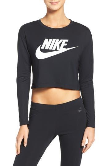Nike Sportswear Graphic Crop Tee, Black