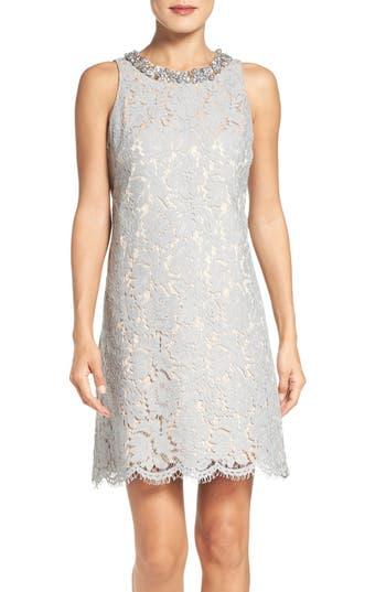 Eliza J Embellished A-Line Dress, Grey